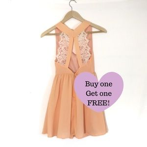 TOBI Peach Lace Back Dress.    A008